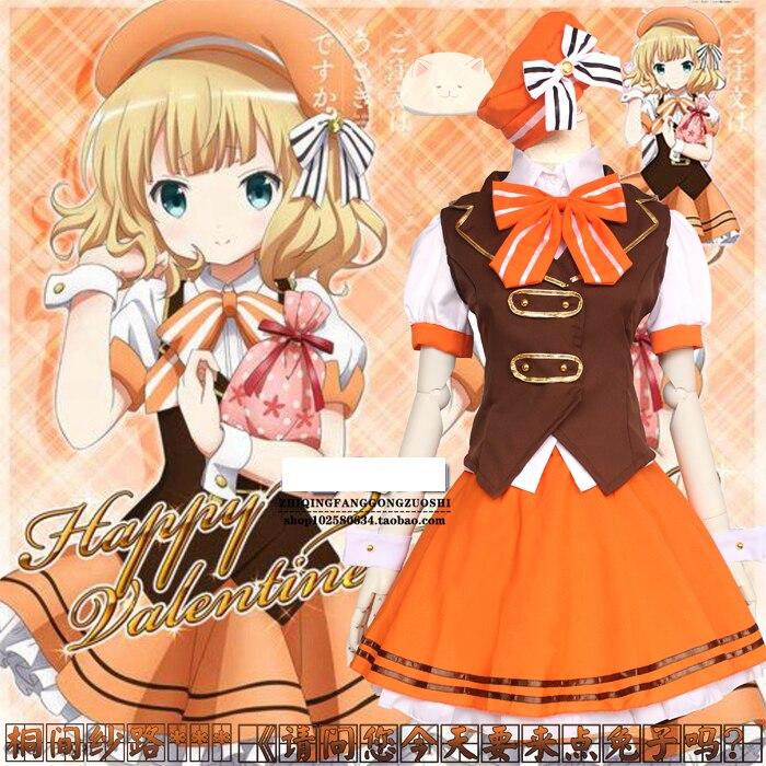 Comic Con Is the Order a Rabbit ? Cosplay Costume Kirima Syaro School uniforms Shirt + Skirt + Vest + Hat + Hand decoration
