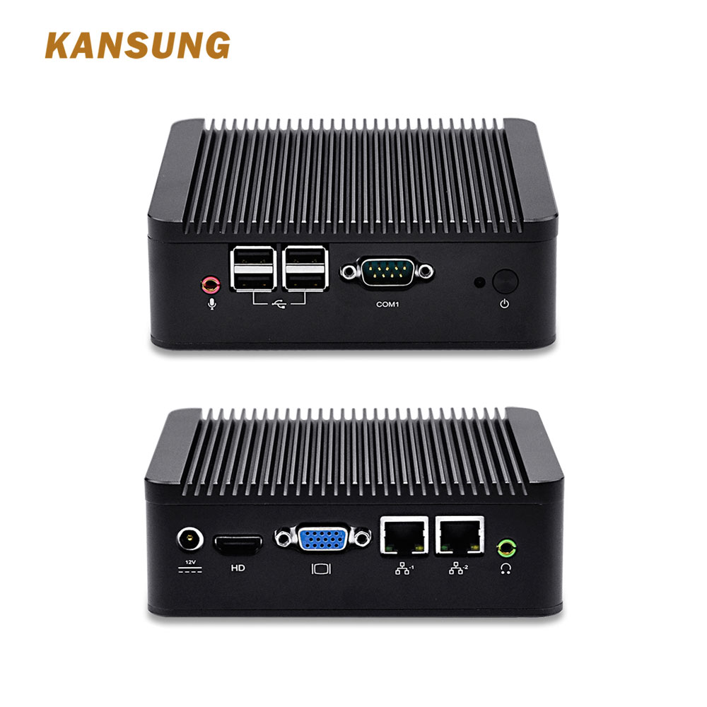 Cheap 12v Fanless Mini Pc 2 Lan Port Computer Personal Server Assemble  Industrial Desktop Celeron 1007U Dual Core Processor