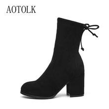 Women Boots Ankle Winter Shoes Female Lace Up Boot Thick Heels Stretch Fabric Female Boots Round Toe Casual Shoes 2019 DE wetkiss new stretch women ankle boots round toe knitting footwear high heels female ankle boot shoes women 2018 winter black