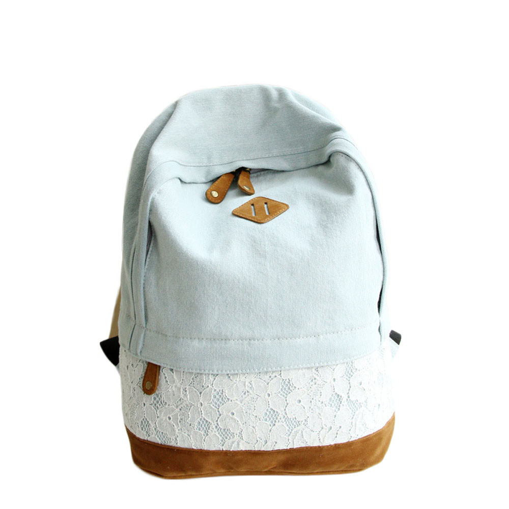 Korean Floral Lace Denim Canvas Printing font b Backpack b font Women School Bags for Teenage