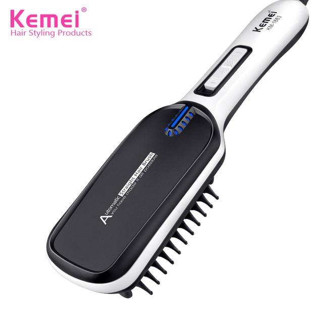 Kemei1663 Универсальный Напряжение выпрямитель для волос Кисточки гребень Быстрый нагрев Выпрямители для волос профессиональные Кисточки