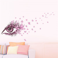 Flower Fairy Eyelash Butterfly Wall Stickers For Girls Room Decor Diy Home Decals Wall Art Removable Kids Gift