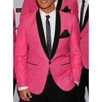 Индивидуальный заказ для измерения мужской костюм, на заказ ярко розовые свадебные смокинги для жениха с черной шалью с отворотом, индивиду