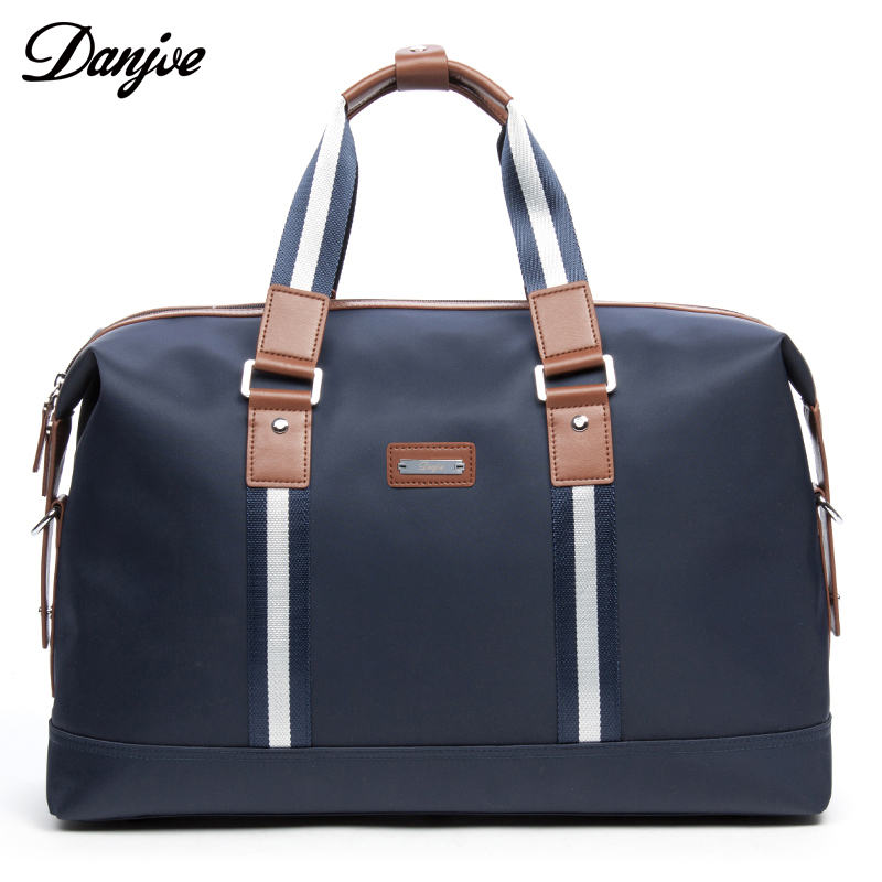 Men Waterproof Travel Bags Business Casual Luggage Bag High Capacity Travel Duffle Blue Tote With Shoulder straps DANJUE Brand