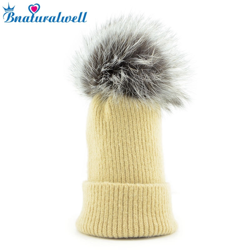 Bnaturalwell New Winter Hats For Baby Girls&Boy Thick Warm Knitted Ears Beanie Fox Fur Pompom Cap Real Fox Fur Pom Pom H011D baby thick kids knitted hats for winter with 12cm real fox fur pom poms baby caps good quality cashmere boys girls beanie hats