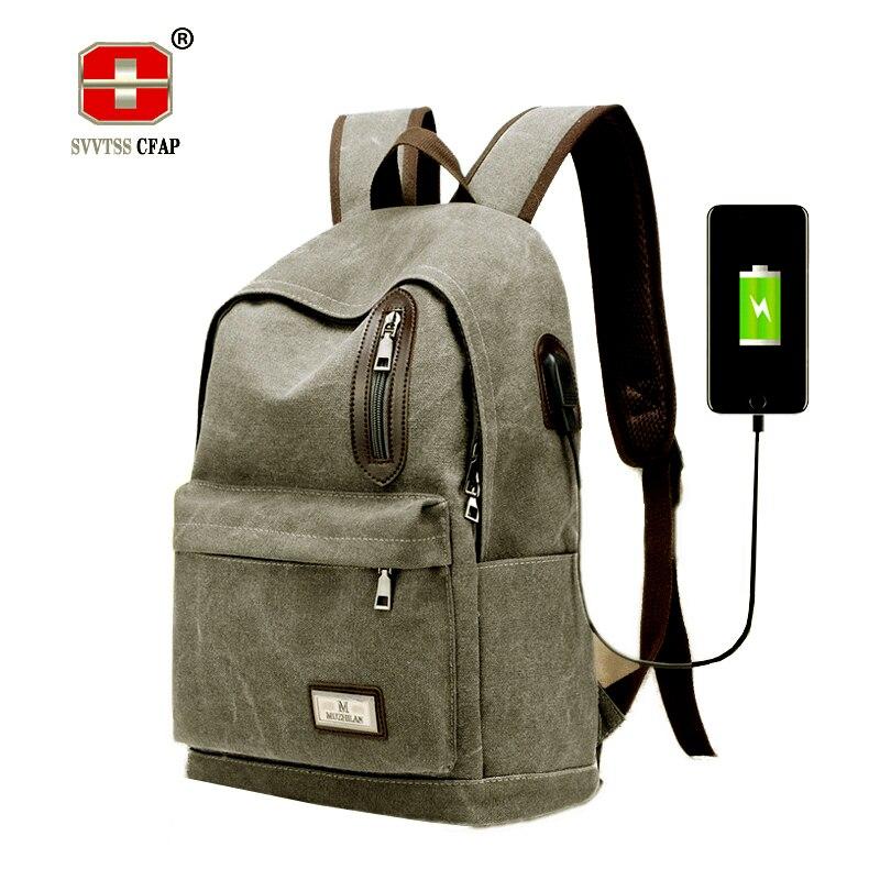 Mens Schoolbag vintage Laptop Backpacks Male Teenagers School Bags for Boys College bag Book Bag USB Canvas Back pack black