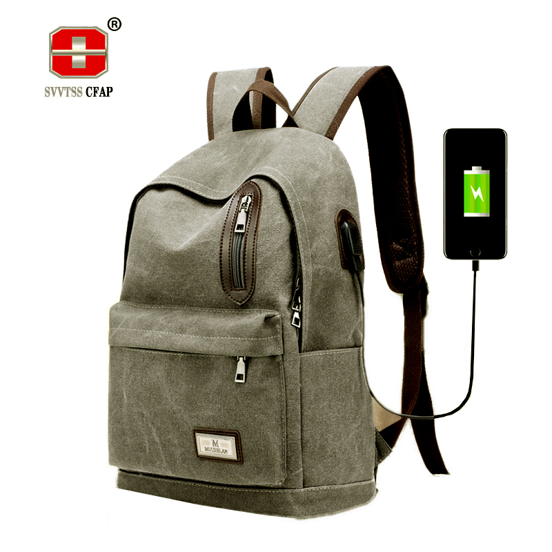 USB Canvas Backpack Men Schoolbag vintage Laptop Back pack Male black Teenagers School Bag for Boy College Book Bag Preppy Style chic canvas leather british europe student shopping retro school book college laptop everyday travel daily middle size backpack