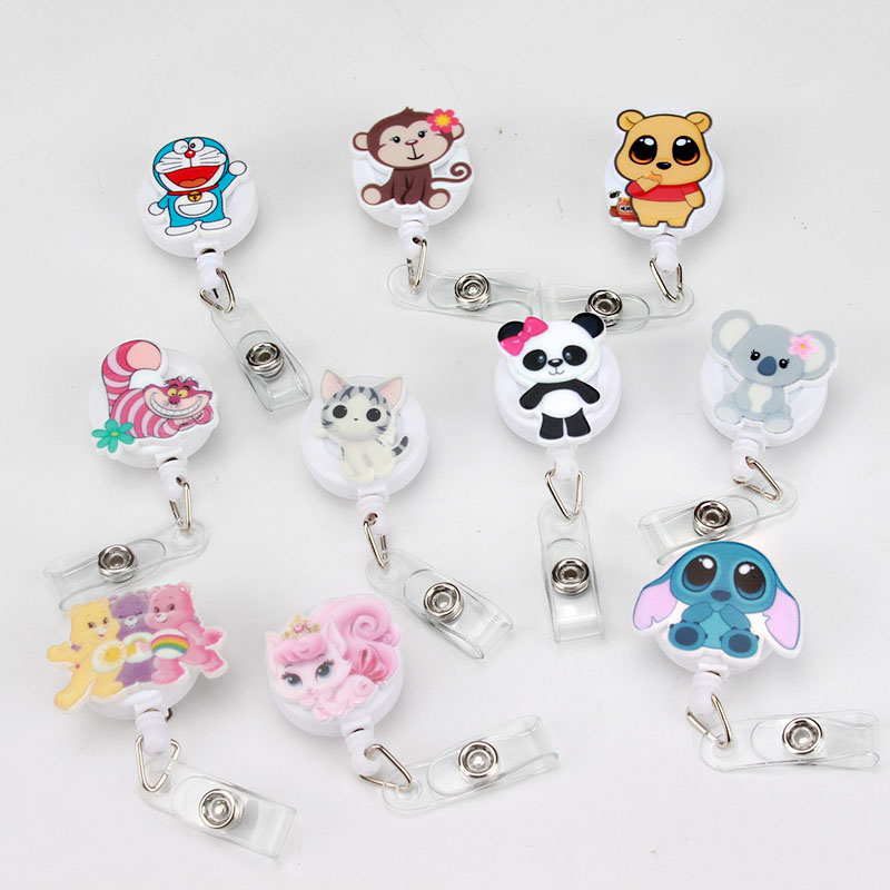 New Cartoon Cat Rainbow Bear ID Badge Reel 2018 New Design Nurse Candy Color Design Bank Credit Card Holder K206
