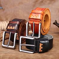 Top Layer Vintage Designers Luxury Brand 100 Genuine Leather Pin Buckle Belts For Mens High Quality