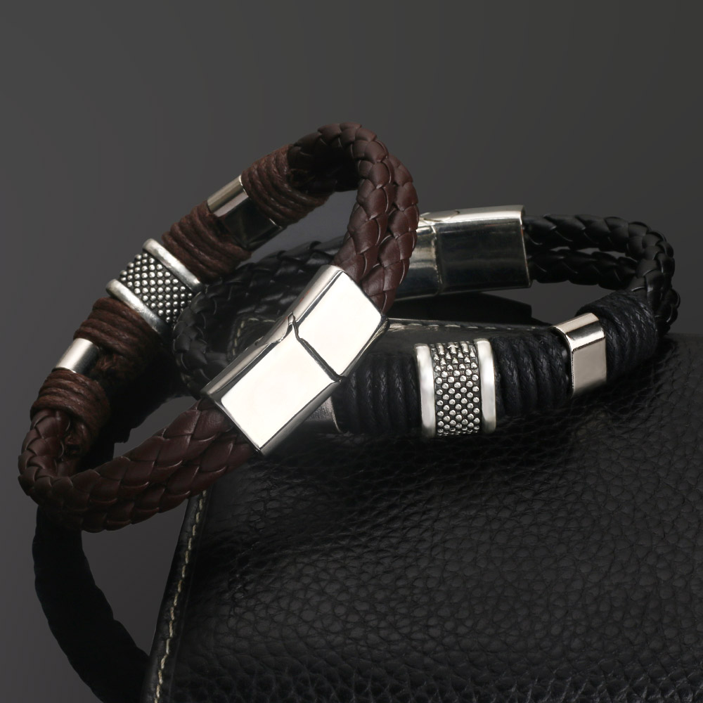 2018 new Jewelry Punk 2 color Zinc Alloy Accessories Weave Genuine leather Men braided  Bracelet male Bangles pulseras hombre 3