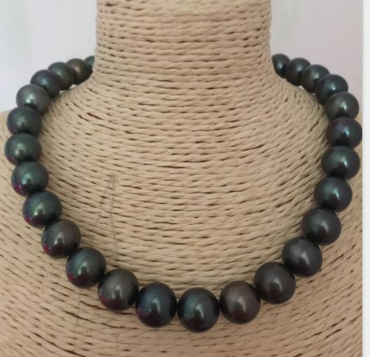 11-12mm freshwater black green pearl necklace 18inch 925silver11-12mm freshwater black green pearl necklace 18inch 925silver