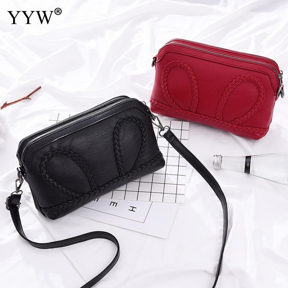 YYW Wholesale Pu Leather Weave Crossbody Bag For Women Personality Soft Surface Solid Evening Party Bags Black Pink Red Zaino