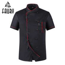 Unisex Casual Soft Chef-jassen Korte mouw Schuine kraag Double Breasted Kitchen Catering Restaurant Food Serive Work Uniform