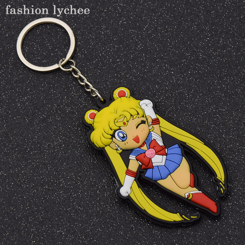 fashion lychee Lovely Cartoon Anime Sailor Moon Characters Mercury Mars Key Ring Sets Keychain Gift For Women Girls