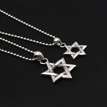 Solid Silver 925 Star David Pendant For Neckalce Men Women Vintage Punk Style 100% Real 925 Sterling Silver Jewelry Men Gifts