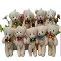 50 ШТ. 12 см Плюшевые Совместное Плюшевый Мишка Для Рождество рождественские Подарки подвески Куклы С Алмаз Лук Chaveiro Мини Урсо Де Pelucia осо