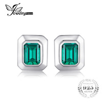 JewelryPalace Men 4ct Created Emerald Cufflinks Genuine 925 Sterling Sliver Cufflinks For Men Fine Jewelry Brand