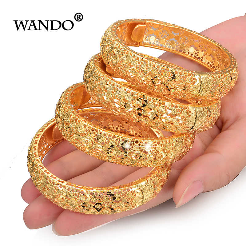 WANDO 4pcs/lot Fashion Charms Bracelets Women Craving Hollow Bangles Luxury Gold Color Elegant Wedding Jewelry Accessories b153