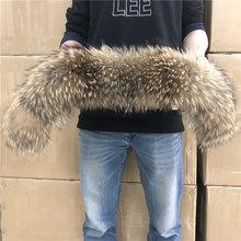 천연 모피 칼라 100% 진짜 너구리 모피 스카프 남자 여자 아이 파카 코트 남성 모피 칼라 블랙 50 60 70 90 cm