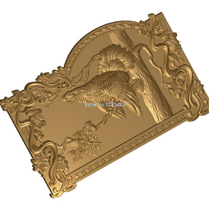 Glukhar_V_Ramke2 3D model relief figure STL format 3d model relief  for cnc in STL file format panno ohota 3d model relief figure stl format the hound 3d model relief for cnc in stl file format