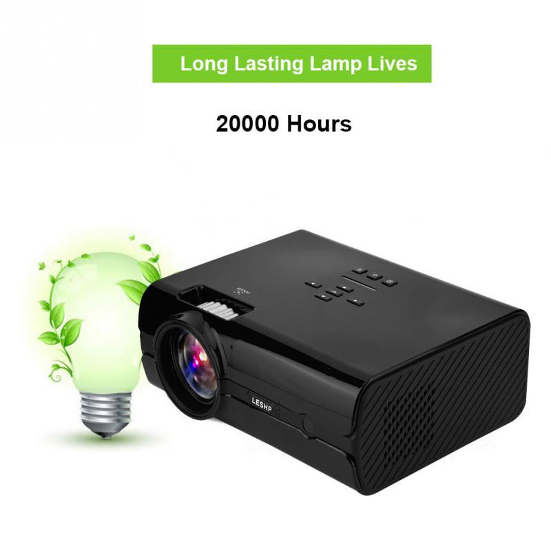 16.7K HD Universal Mini Projector 1000:1 AV/VGA/USB/SD Card/HDMI/TV Input Home Theater Projector-EU Plug gm50 1080p hd home theater led projector w sd hdmi vga av usb white black eu plug