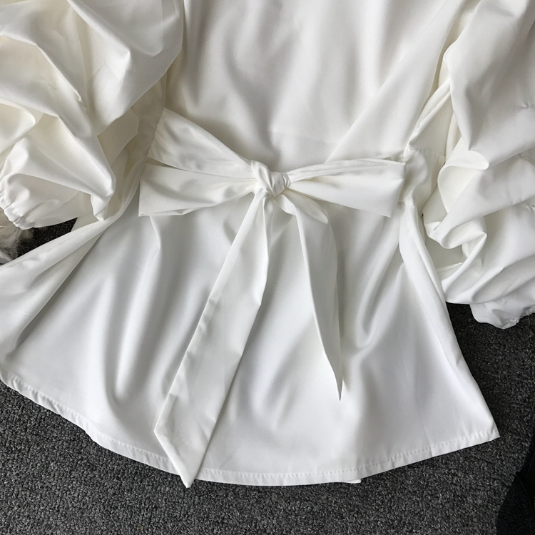 2109 Spring Women V-neck Puff Sleeves Blouse Slim Tunic Tops Retro Vintage Pullovers Busos Para Mujer Kimonos 99