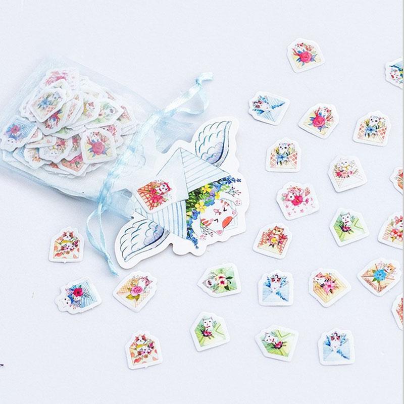 100pcs/ kawaii Creative cat garden DIY toy Calendar Album sticker scrapbooking planner sticker material sealing paste stationery