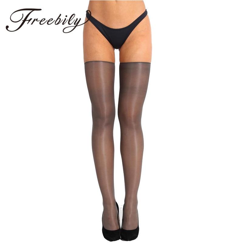 FREEBILY 1 Pair Women Anti-skid Soft Silk Long Stockings  Sexy Women Stockings Sexy Pantyhose Nylon Tights Ladies Long Stockings