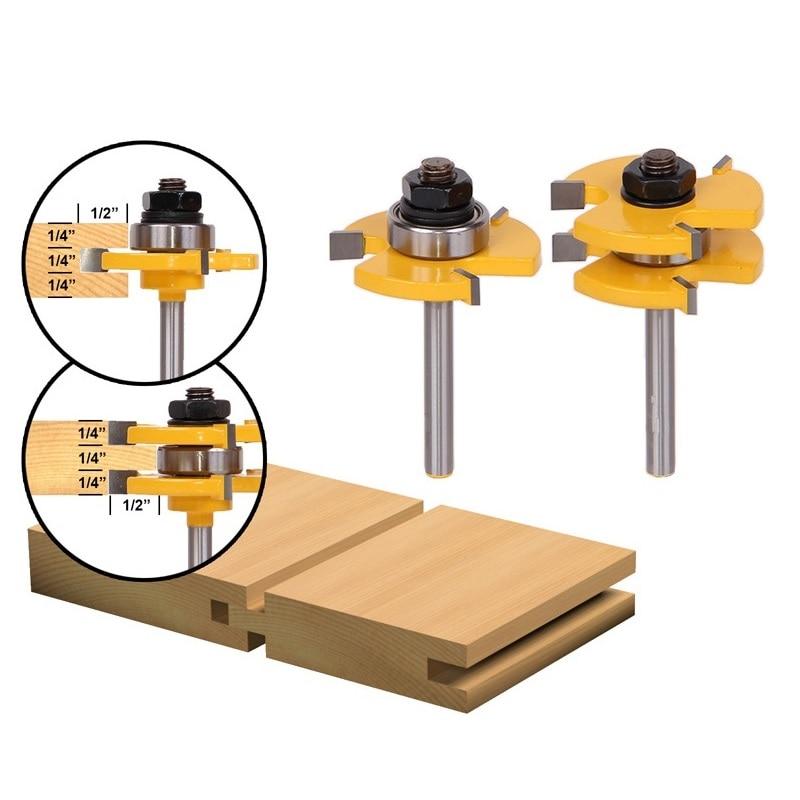 "1 Satz Zunge & Nut Router Bit Set 3/4 ""lager 1/4"" Schaft 3 Zähne T-form Holz Fräsen Cutter Bodenbelag Holz Arbeits Werkzeuge"