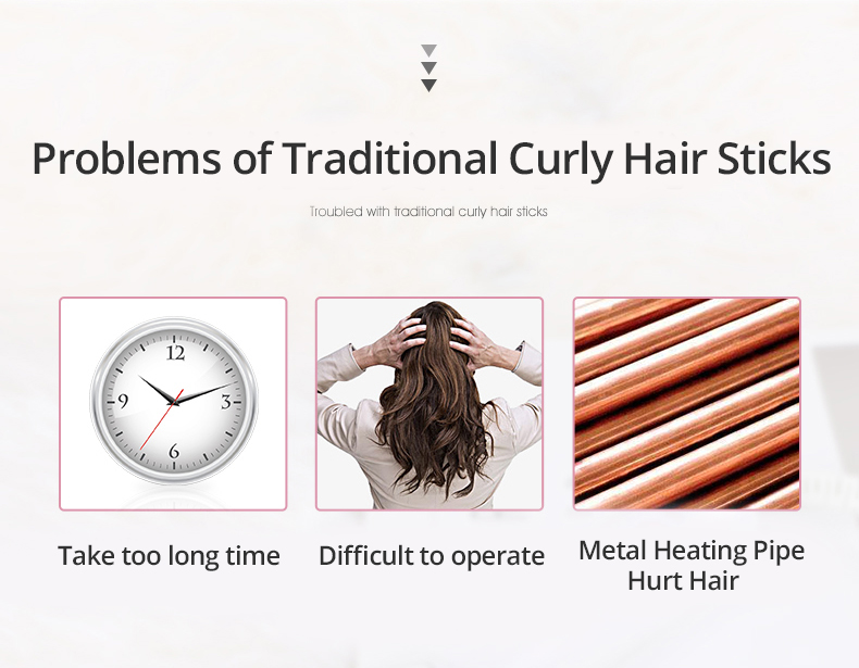 Automatic Curly Hair Stick Hair Curler Fast Styling in 5 Min Ceramic Heating Tube Nourish Hair with Plant Protein Coating 37