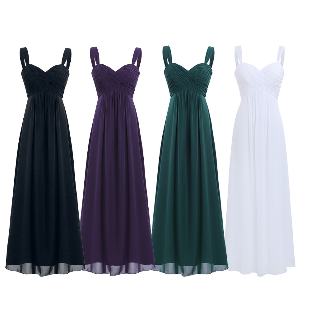 4 Color Women Ladies Chiffon Pleated Formal Dress for Birthday Party Long Evening Prom Gown 18 Summer Hot Dresses for Womens 1