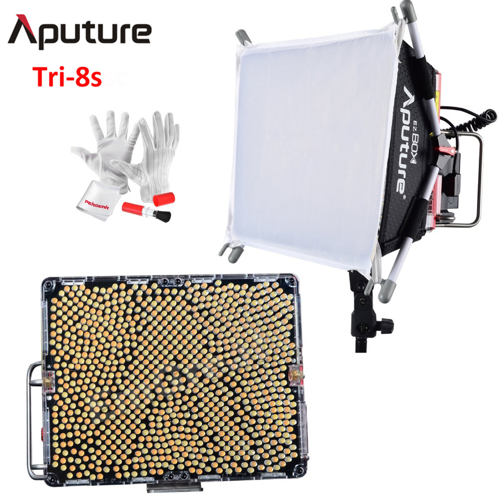 Aputure Amaran Tri-8s Daylight Balanced Dimmable Led Video Light Panel EZ Box Diffuser Kit Batteries 2.4G Remote Control V Mount