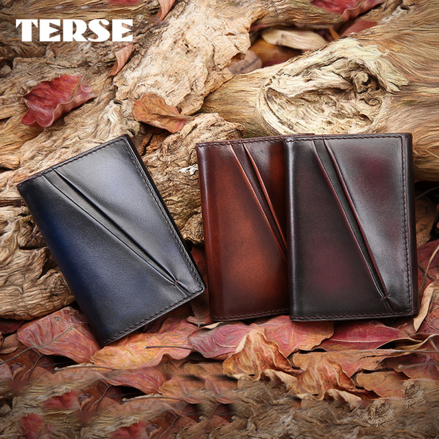 TERSE_Bifold dress men purse handmade cowhide leather wallet luxury antique style high quality card wallet one stop service