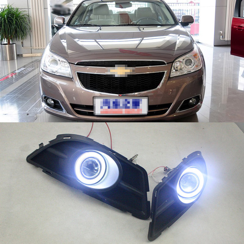Ownsun COB Angel Eye Rings Projector Lens with 3000K Halogen Lamp Source Black Fog Lights Bumper Cover For Chevrolet Epica 2013 ownsun superb u shape led headlight angel eye projector lens for vw tiguan 2010 2012 model