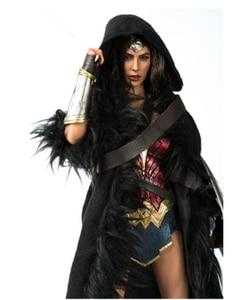 Image 2 - 1/6 Wonder Women Black Cloak with Belt Long Coat Models for 12 inches Action   Figure