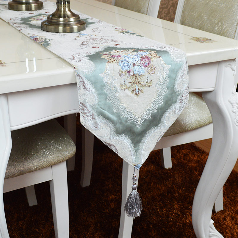 Table Runner Cover Tassel 30 x 40 45 160 180 200 220 240 260cm Embroidered Floral Polyester Green Gold Beige