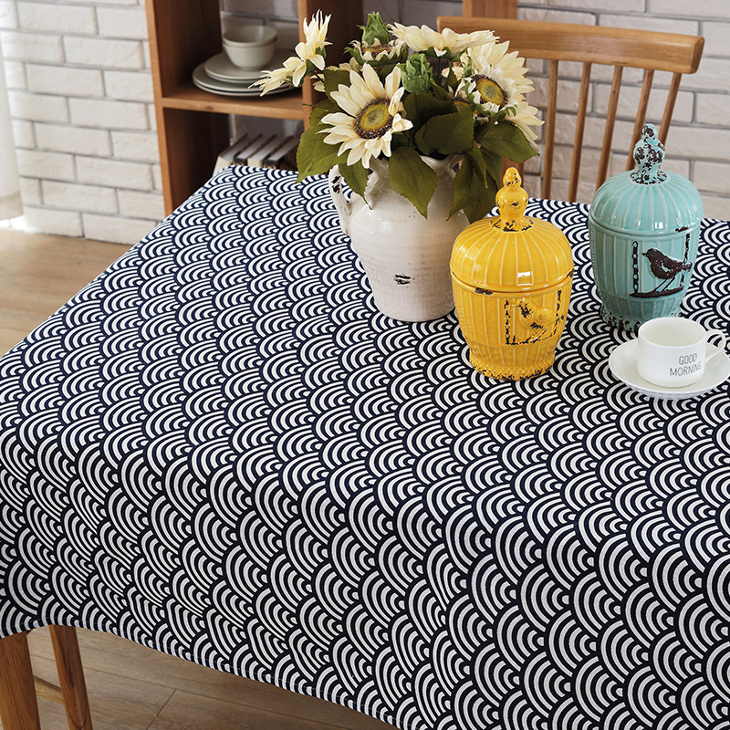 FORSWAN Modern Simple New Blue Tablecloth Dining Table Cloth Grid Canvas Durable Waterproof Kitchen Tablecloths