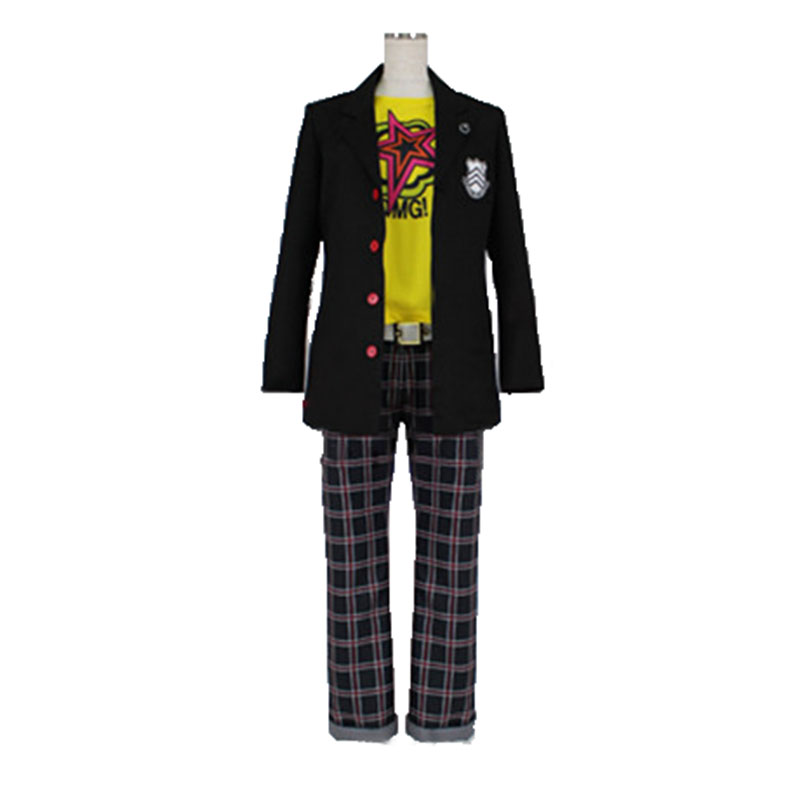 Persona 5 Ryuji Sakamoto Cosplay Costume High School Uniform Student's Clothes Black Coat+Pants+Yellow Shirt