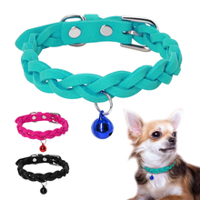 5pcs Suede Leather Small Dog Cat Collar Adjustable Pet Puppy Kitten Bell Collars For Chihuahua Yorkshire Teddy Pink XS S M
