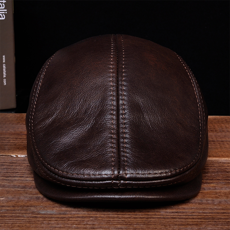 1ead1875 HL042 men's genuine real leather baseball caps hats black brown coffee brand  new cow skin beret