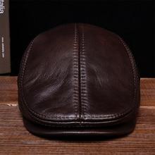 HL042 mens genuine real leather baseball caps hats black brown coffee brand new cow skin beret newsboy hat cap