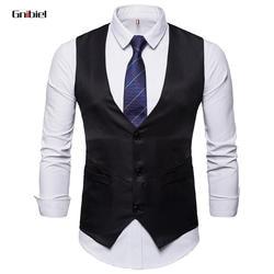 Gnibiel жилеты мужчин slim fit Корея платье костюм свадебный жилет мужской жилет homme повседневные без рукавов вечернее fusiness куртка