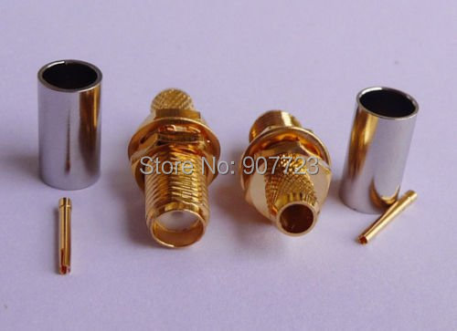 10pc SMA Female Nut Bulkhead Crimp RF Connector For RG58 RG142 LMR195 RG400 Cable