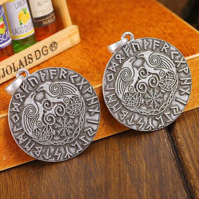 Vết Odin Con Quạ Trong Rune Vòng Tròn Bùa Hộ Mệnh Mặt Dây Chuyền Aegishjalmur Rune Triskele Mặt Dây Chuyền Bắc Âu Trang Sức