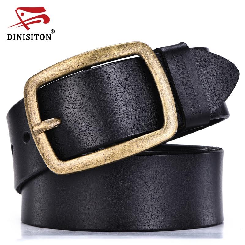 DINISITON Casual Jeans Belt Designer Brand Belts For Men High Quality Genuine Leather Gold Pin Buckle Belt Men Vintage Waistband