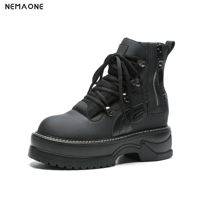 NEMAONE 2018 new Cow leather Flat women ankle boots woman lace up motorcycle boots winter platform shoes woman large size 42NEMAONE 2018 new Cow leather Flat women ankle boots woman lace up motorcycle boots winter platform shoes woman large size 42
