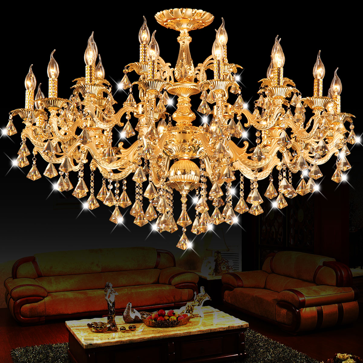 Large champagne led Candle chandelier for living room Dining Room 15-24 pcs E14 diamond pendant Crystal Chandelier led lustreLarge champagne led Candle chandelier for living room Dining Room 15-24 pcs E14 diamond pendant Crystal Chandelier led lustre