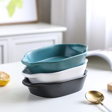 Tableware Ceramic Plate Binaural Baking Ramen Bowl Tray Home Creative Ceramic Western Dish Ceramic Bowl Salad Bowl Dinnerware 5 6 8 inch japanese cherry blossom ceramic ramen bowl large instant noodle rice soup salad bowl container porcelain tableware