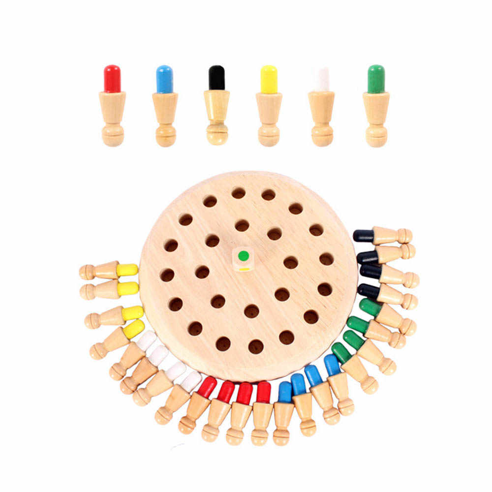 Kids Wooden Memory Chess Stick Board Game Colorful Hanoi Tower Logic Puzzle Children Cognitive Educational Toys