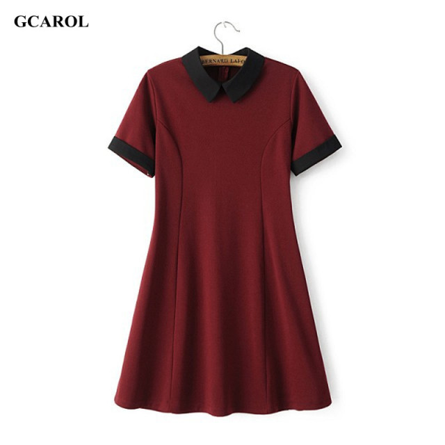 Gcarol dress de las nuevas mujeres de peter pan de la vendimia del estiramiento delgado spliced dress preppy style fit y flare dress alta calidad dress